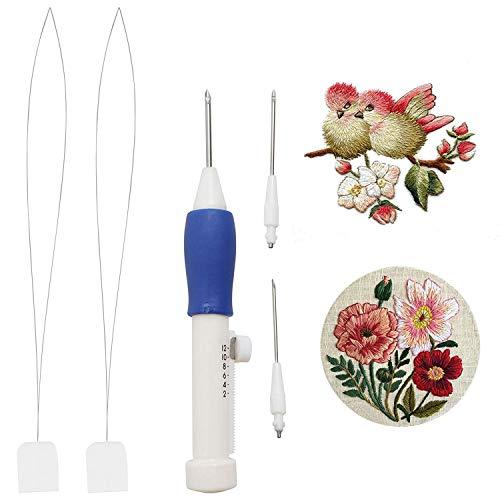 5 Pcs Magie Stickerei Sticknadel Werkzeug Kit mit 2 Ersatznadeln und 2 Nadeleinfädler - Punch Pen Tool - Stickstift Stanznadel Set - Hand Stickerei Stift - Weihnachten Nähzubehör fürs Sticken
