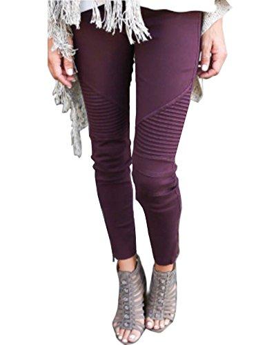 Minetom Autunno Inverno Alta Vita Elastico Skinny Pantaloni Stretti Da Donna Eleganti Leggings Treggings Lunghi Matita Pantaloni Pants Vino Rosso EU XL
