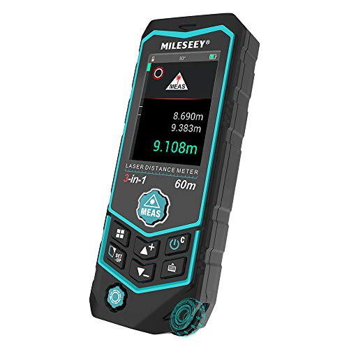 Laser Distance Meters, MiLESEEY 196Ft laser measuring tool with Built-in Wheel Measurement, with Color Backlit Display, Voice, Laser Line Marking Function, Pythagorean, Triangle, Angle Measure