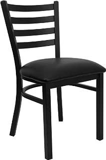 Flash Furniture 4 Pk. Hercules Series Black Ladder Back Metal Restaurant Chair - Black Vinyl Seat