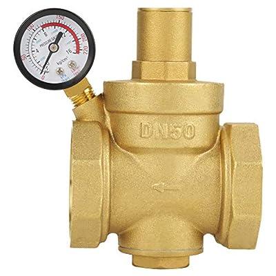 Pressure Reducing Valve, BSP DN50 2inch Brass Water Pressure Reducing Valve 2'' Adjustable Water Control Pressure Regulator Valve Thread with Gauge Meter 1.6MPa from Keenso