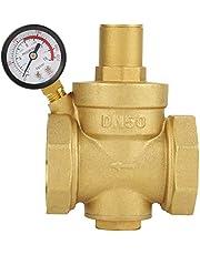 Qinlorgo Válvula Reductora de presión, BSP DN50 2 Pulgadas Latón Reductor de presión de Agua Control de Agua Ajustable Válvula reguladora de presión Rosca con medidor de 1.6MPa