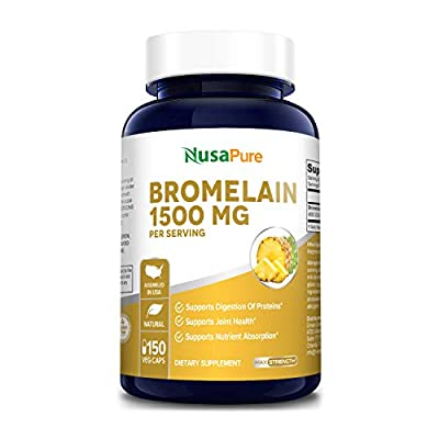 Bromelain 1500mg 150 Veggie Caps (Non-GMO & Gluten Free) - Supports Healthy Digestion, Anti- Inflammatory Support