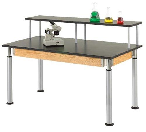 "Big Sale Diversified Woodcraft PR8144K UV Finish Solid Oak Wood Adjustable Height Plain Table with Phenolic Top, 60"" Width x 27-39"" Height x 30"" Depth"