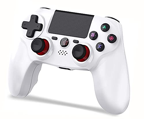 PS4 コントローラー ワイヤレス fps改良型 最新バージョン 600mAh大容量 Bluetooth5.0 ジャイロセンサー機能 イヤホンジャック タッチパット搭載 二重振動 日本語取扱説明書 ホワイト