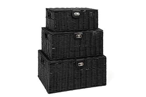 Arpan Set of 3 Resin Woven Storage Basket Box with Lid & Lock (Black)