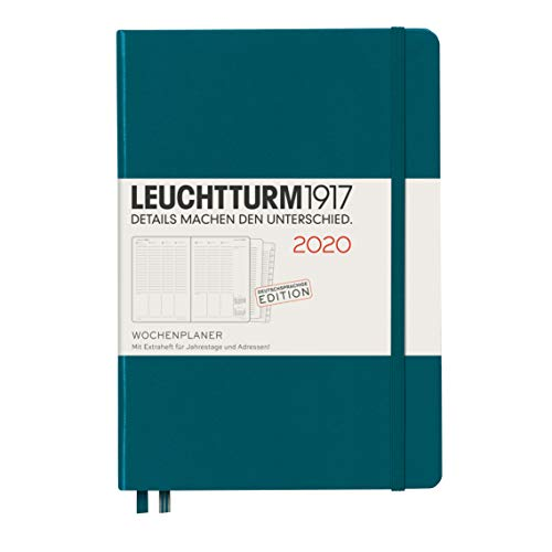 Leuchtturm1917 Wochenplaner 2020 Hardcover Medium (A5), Pacific Green, Deutsch