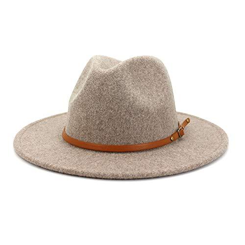Lisianthus Women Wool Wide Brim Belt Buckle Fedora Hat A Brown Belt A-Oatmeal