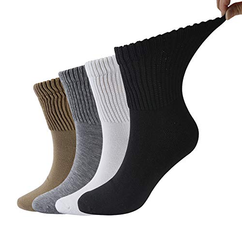 Dsource Diabetic Medical Socks for Mens Womens Comfort Loose Top Easy off Insole Socks 4 Pairs Multicolor 1 Quarter L/XL