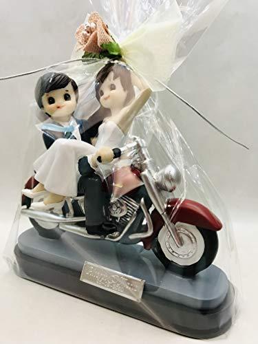 Figura GRABADA de boda novios en moto harley para tarta figuras PERSONALIZADAS