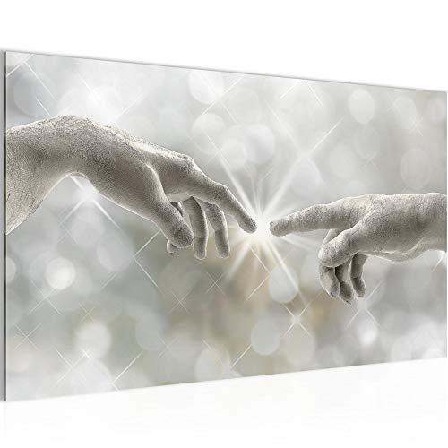 Bild Die Erschaffung Adams - Michelangelo Wandbild Vlies - Leinwand Bilder XXL Format Wandbilder Wohnzimmer Wohnung Deko Kunstdrucke Grün 1 Teilig - MADE IN GERMANY - Fertig zum Aufhängen 612014a
