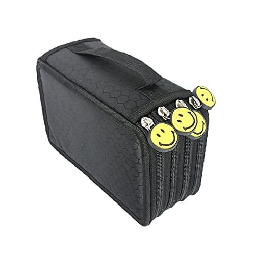 Sraeriot Caja de lápiz Handy Oxford Coloree Pencil Pouch 4 Capas y 4 Cremalleras Gran Capacidad para Estudiantes Bolsa de Pluma Negro 1pc, Suministros estacionarios