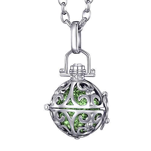 Morella® Damen Halskette Edelstahl 70 cm mit Ornament Anhänger und Klangkugel Zirkonia grün Ø 16 mm in Schmuckbeutel