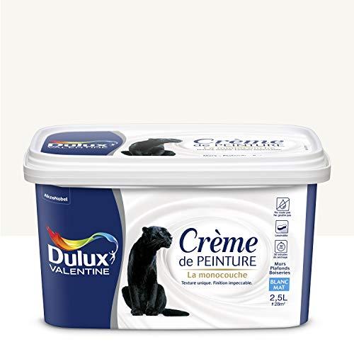 Peinture monocouche pour murs, boiseries et plafonds Crème De Peinture Mat Blanc 2,5 L - Dulux Valentine
