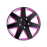 AutoStyle KT962-13BK/PNK Set Copricerchio Michigan 13 Nero Opaco/Rosa, 4 pezzi