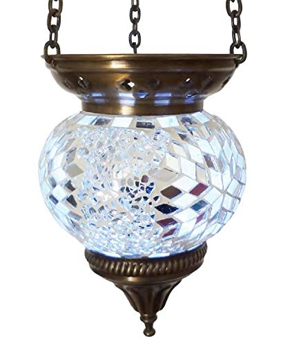 Moroccan Turkish Mosaic Hanging Lamp Hanging Candle Holder Hanging Candle Holder Table Desk Lamp Lamps Bronze Effect Handmade Unique Crushed Glass Tiffany Style Turkish Moroccan Lamp White