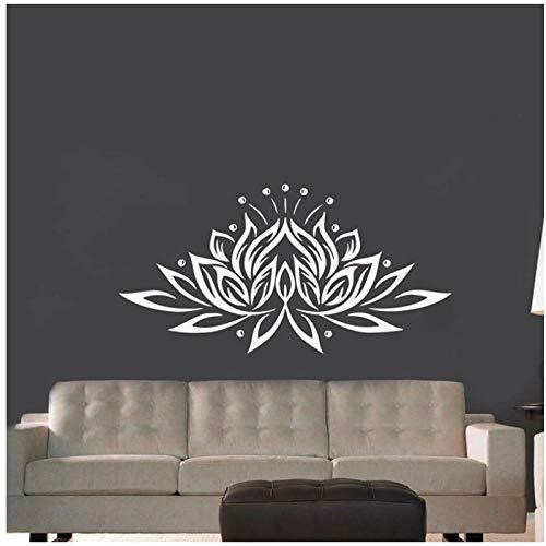 WANGHH Große Lotus Flower Vinyl Wandaufkleber Creative Design Wandtattoos für Wohnzimmer/Schlafzimmer Dekor 90x58cm