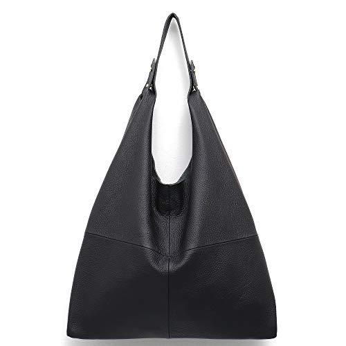 Stephiecathy Große Damen-Beuteltasche zum Umhängen aus weichem Leder, Einkaufstasche mit Reißverschluss und gefütterter Handy-Innentasche, Schwarz - Schwarz - Größe: One Size