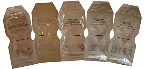 MRE Cappuccinos and Cocoa (French Vanilla, Irish Cream, Mocha, & more) 5 packets each! (Sampler Pack)
