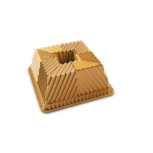 Nordic Ware Bundt Squared Pan, Talla única, Oro