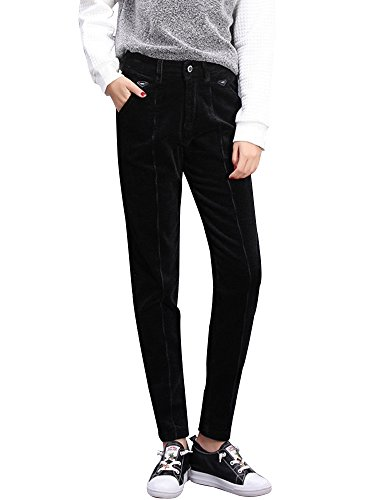 OCHENTA Femme Pantalon Velours Côtelé Automne Pants Slim Noir W29