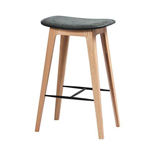 SACKit - Nordic Barhocker aus weißem Eichenholz und Anthrazit Dunes Leder - Fully upholstered - Exklusive moderner Barstühle im dänischen Design - Perfekter für die Küche - Sitzhöhe 73 cm