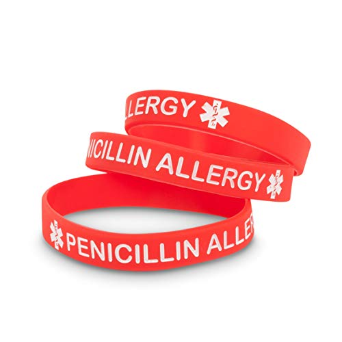 3 Pack - Penicillin Allergy Medical Alert ID Silicone Wristband Bracelet by Medicaband
