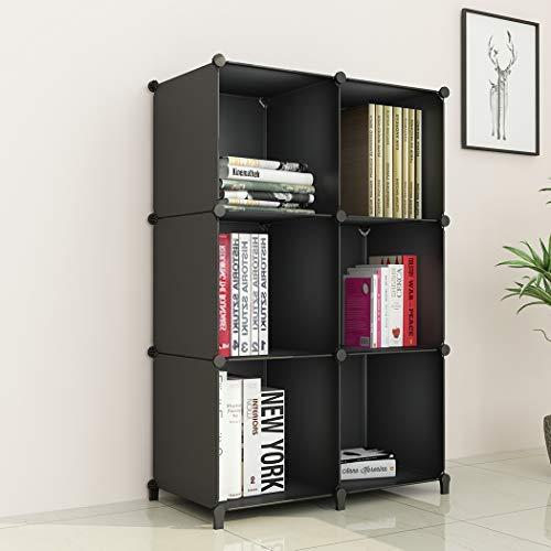 SIMPDIY Portable Storage Organizer Plastic Cubes Sturdy Bookshelf 6 Cubes Black Multi-Function Space-Saving Shelves Plastic Sheves Rack