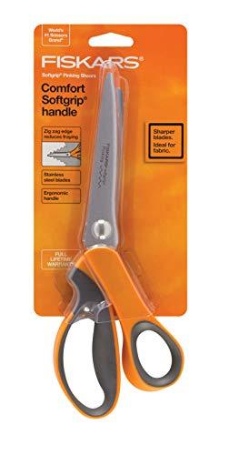 "Fiskars 8"" Softgrip Pinking Scissors,Orange,9.5"" long"