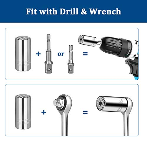 4 Pack Universal Socket Tools Gifts for Men Dad, Grip Socket Gadgets Wrench Set Fits Standard 1/4''-3/4'', Magic Socket Gifts with Power Drill Adapter for Father Husband Boyfriend DIYer on Christmas