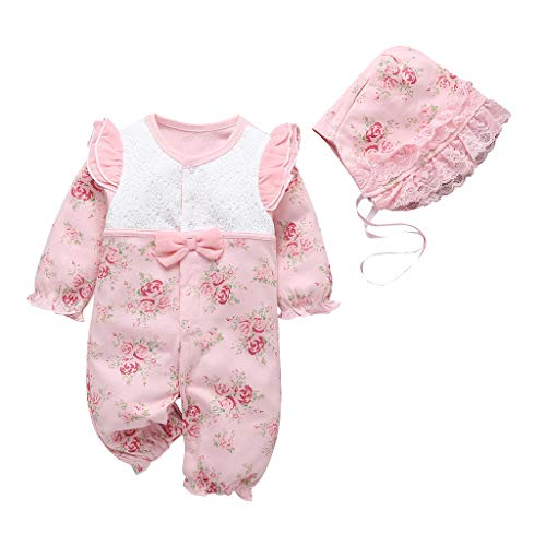 Livoral Neugeborene Baby Mädchen Blumendruck Rüschen Lace Strampler Overall + Hut Outfits(Rosa,0-3 Monate)