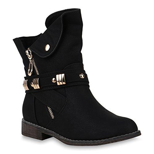 Damen Schuhe Stiefeletten Leicht Gefütterte Biker Boots Zipper Nieten 147477 Schwarz Camargo 37 Flandell