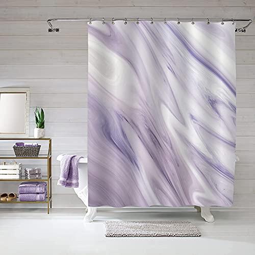 Mitovilla Marmor Duschvorhang Liner 60 x 72, abstrakter moderner 152,4 cm Duschvorhang für Standard-Badewanne, luxuriöser Stoff Duschvorhang für Lavendel Badezimmer Dekor, lila Duschvorhang Set