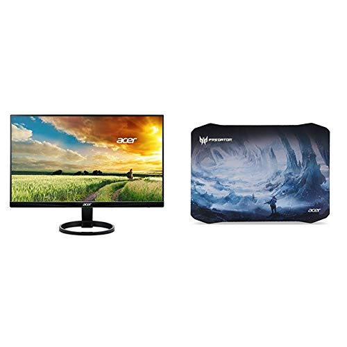 Acer R240HY bidx 23.8-Inch IPS HDMI DVI VGA (1920 x 1080) Widescreen Monitor,Black with Acer Predator Ice Tunnel Mousepad