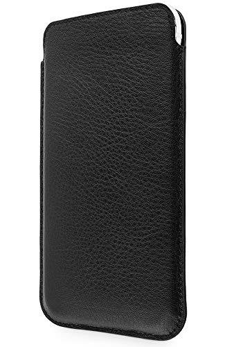 WIIUKA Echt Ledertasche - Pure - für Apple iPhone 11 Pro und iPhone X/XS Hülle extra Dünn, kabellos Laden Qi, im Slim Fit Design, Schwarz, Premium Leder Tasche Case