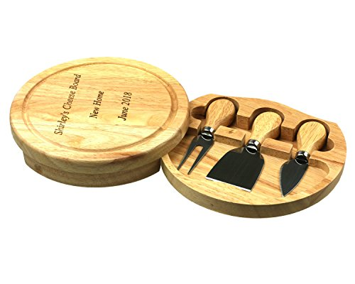 Personalised Round Wooden Cheese Board Knife Set, 19cm Across 7.5 inches Diameter Gift, Wedding, Fathers, Mothers Day, House Warming Present