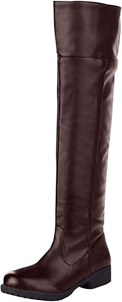 Ace Cos-play Knee-high Boot Riding Boots (womens, brown)