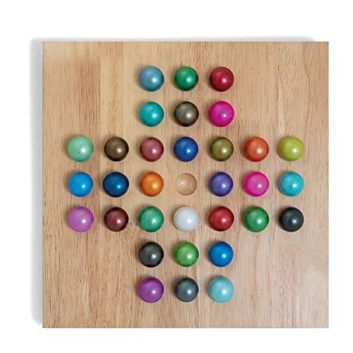 Remember Solitär Spiel Spielbrett Holz, Spielkugeln gefrostetes Glas