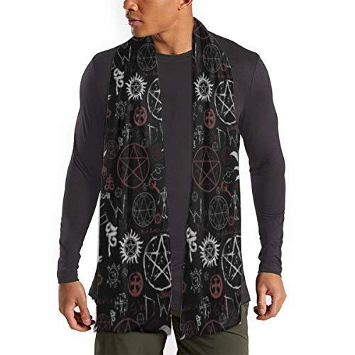 JONINOT Hippie Gypsy Bohemian Symbols Schwarzer Schal für Frauen Männer Leichte Unisex Frühling Herbst Winter Schals Schal Wraps