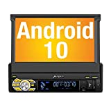 PUMPKIN Android 10 Single Din Car Stereo with GPS, WiFi, Built-in DSP, Support...