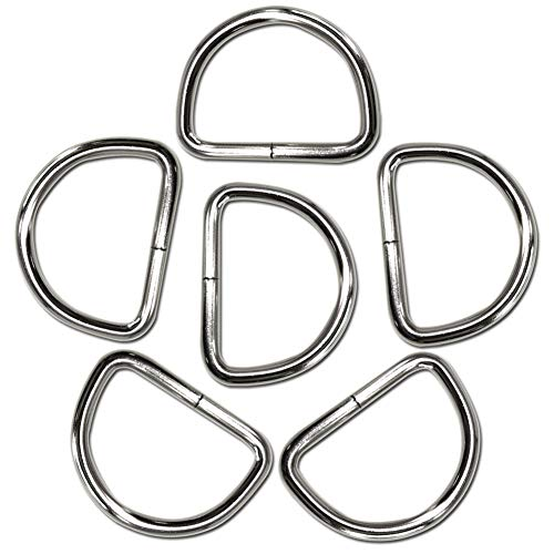 Metal Macrame D Ring 6 Pack 50mm Width 6mm Thickness Heavy Duty D-Ring for Sewing, Keychains, Belts and Dog Collar D-Rings