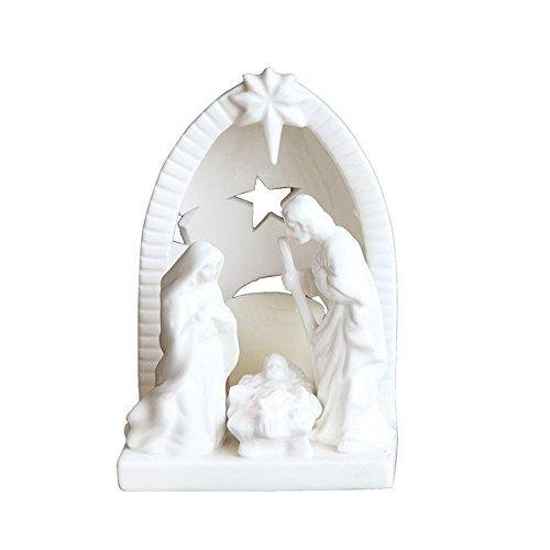 Creative Co-op - Portavelas de cerámica (6,5 Pulgadas), Color Blanco