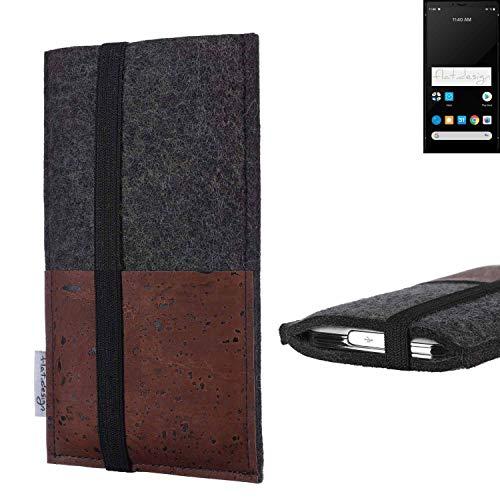 flat.design Handy Hülle Sintra für Carbon 1 MKII Handytasche Filz Tasche Schutz Kartenfach Hülle braun Kork
