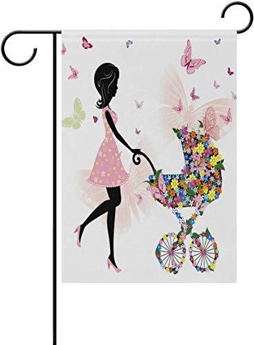 Mesllings Meisje Bloemen Vlinder Kinderwagen Tuin Vlag Dubbelzijdig Huis Binnen Outdoor Seizoensgebonden Decoratie Yard Banner Polyester 28