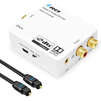 Digital to Analog Audio Decoder by OREI Convert Decode Dolby Digital Audio SPDIF/Coaxial 5.1-Channel Input to RCA L/R/3.5mm Headphone Output Converter - DA34