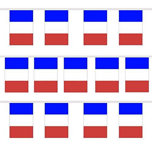 TRIXES 9M Guirlande Tricolore Française Fanions Bleu Blanc Rouge pour Célébrations Nationales Fête Nationale