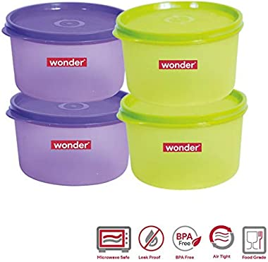 Wonder Plastic Prime Super Fresh 1000 Container Set, 4 Pcs Container 1000 ml, 2 Violet 2 Green Color, Made In India, KBS02158