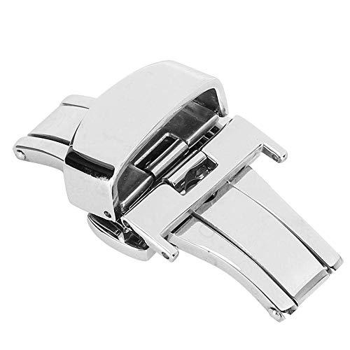 Cierre de correa de reloj de acero inoxidable, cierre de correa de reloj Cierre de correa de reloj de acero inoxidable, hebilla para reloj accesorio de repuesto para hombres y mujeres (plata 18 mm)
