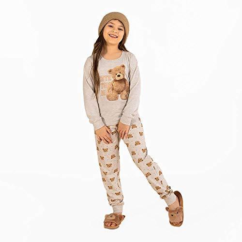 Pijama Longo Menina Mãe e Filha Infantil Meia Malha Gola U Mensageiro dos Sonhos Estampa Teddy Bear Cor Mescla TamanhoAd