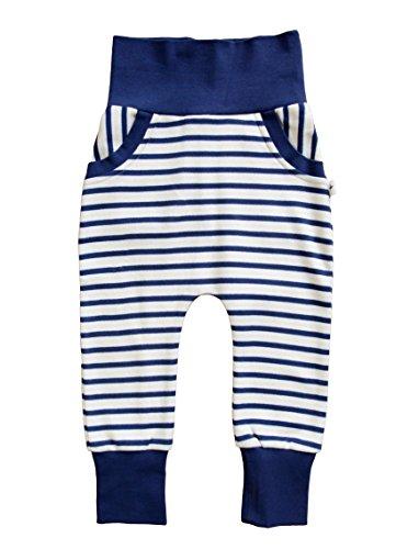 Leela Cotton babybroek harembroek kinderen 100% biologisch katoen pompbroek broek, marine gestreept